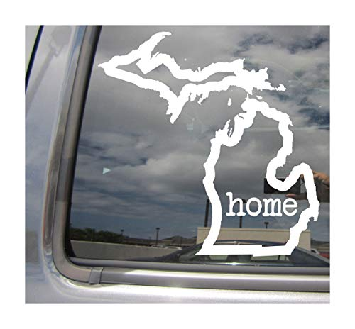 - Michigan State Home Outline - MI Lansing Detroit The Wolverine State USA America - Cars Trucks Moped Helmet Hard Hat Auto Automotive Craft Laptop Vinyl Decal Store Window Wall Sticker 07028