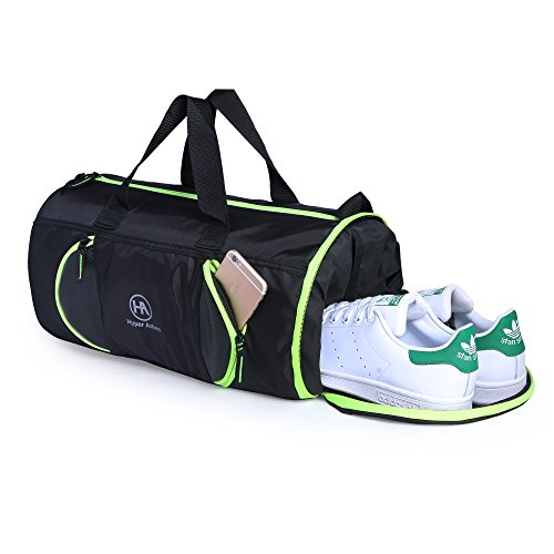 Hyper Adam 17 inch Polyester Travel Duffel Bag, Gym Bag with Shoe Compartment  Black,Green