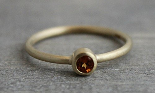 Mandarin Garnet 14kt Yellow Gold Stacking Ring, Size 7 by Sophia Rose Jewellery