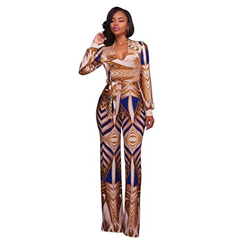 Felicity Young Women's Long Sleeve V Neck Plunge Geommetric Digital Printed Wide Leg Long Pants Jumpsuits Rompers