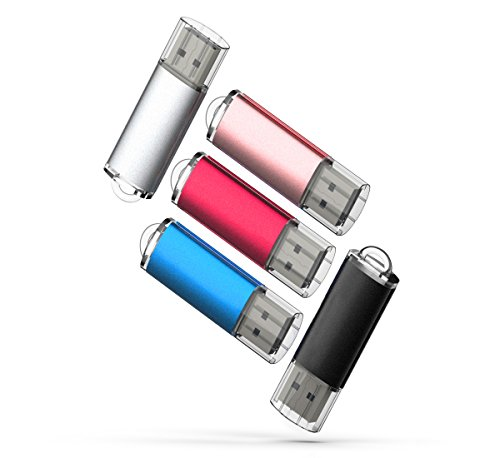 5 X 16GB USB2.0 Flash Drive Bulk Thumb Drive Jump Drive Memory Drive Zip Drive with LED Light ( 5 Pack ,Black,Red,Blue,Rose Gold,Silvery)