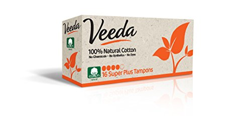Veeda Natural All-Cotton Tampons, Super Plus, Non-Applicator, 16 Count (Chlorine Free Tampons Non Applicator)