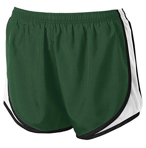 Clothe Co. Ladies Moisture Wicking Sport Running Shorts, Forest Green/White/Black, M