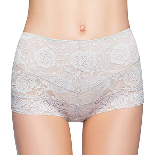Eve's temptation Janice Women's High Waist Lace Panties Tummy Control Seamless Slimming Underwear Full Coverage Brief-Grey ()