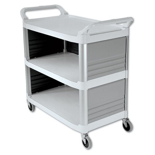 Rubbermaid Commercial Xtra Utility Cart, 300lb Cap, 3-Shelf, 20w x 40d 5/8 x 37 4/5h, Off-White