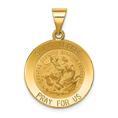 14k Yellow Gold Saint George Medal Pendant Charm Necklace Religious Patron St Fine Jewelry Gifts For Women For Her