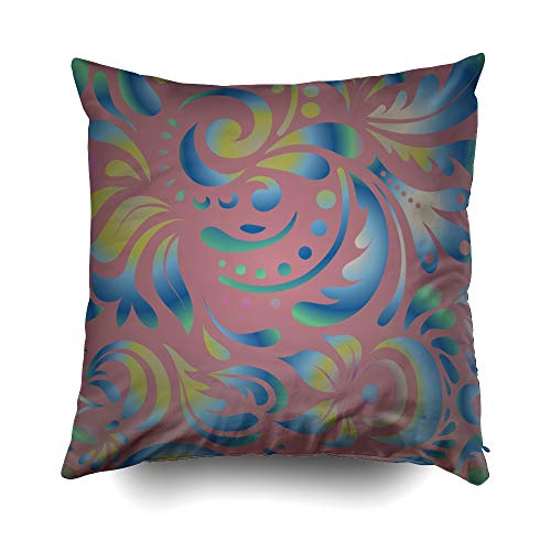 hrow Pillowcase for Sofa Cushion Cover,Christmas Blue Damask Paisley Wallpaper Background Decorative Square Accent Zippered and Double Sided Printing Pillow Case Covers 16X16Inch ()