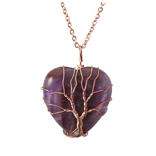 Top Plaza Natural Amethyst Healing Crystals Necklace Tree of Life Wire Wrapped Stone Heart Pendant Necklaces Reiki Quartz Jewelry for Womens Girls Ladies (Meaning Of The Word Peace In Greek)