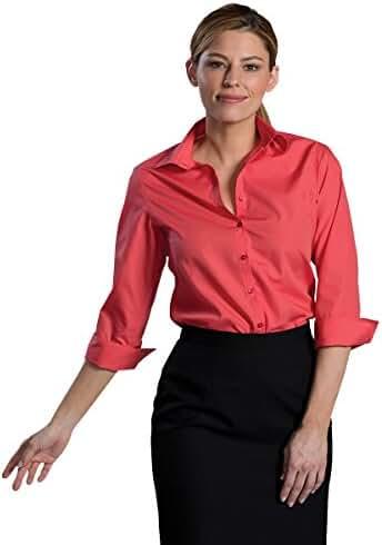 Edwards Garment Women's Open Neck 3/4 Sleeve Narrow Placket Poplin Blouse