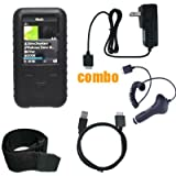 6 Piece Value Combo Accessory Bundle Kit: Black Silicone Skin Case Cover + Car Charger + Travel Charger + USB Data Sync Cable + Armband + Belt Clip for Sony Walkman S615 / S616 Series MP3 Player
