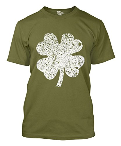 Distressed White Four Leaf Clover Men's T-Shirt (Olive, (White Four Leaf Clover)