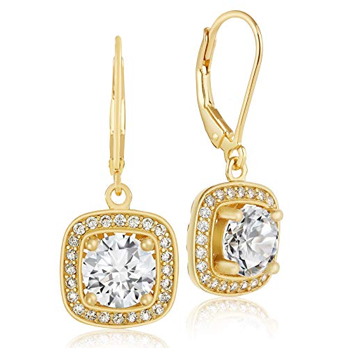 Lusoro 925 Sterling Silver Gold Plated Square AAA Cubic Zirconia Round Halo Leverback Dangle Earrings 14k Leverback Dangle Earrings