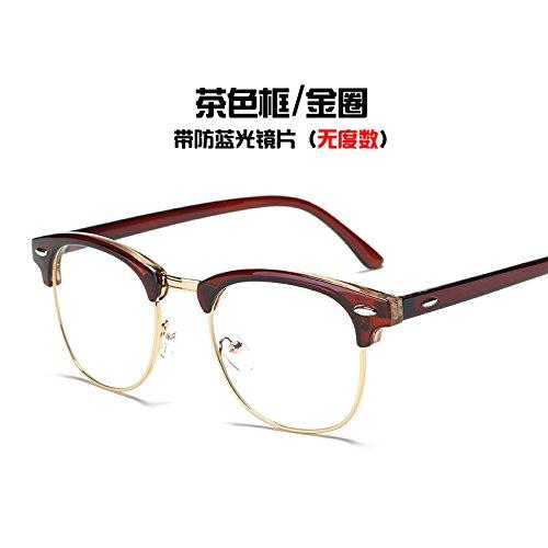 plata Box Gold brillante anillo gafas KOMNY azul Brown marea Equipo Ring gafas negro Gafas del radiación y bastidor de T6O1SqwaTx