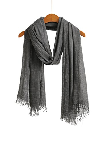 Linen Blend Scarf - WS Natural Bohemian Linen Blend Scarf Shawl Wrap Heavily Washed Gypsy Style Crinkle Charcoal Grey