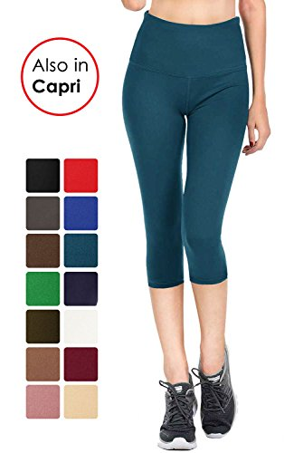 VIV Collection Signature Capri Leggings Soft and Strong Tension (L, Teal)
