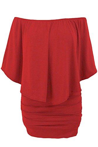 Mesdames rouge robe Bodycon Froncée bandoulière côté Club Wear Taille S 8–10EU 36–38