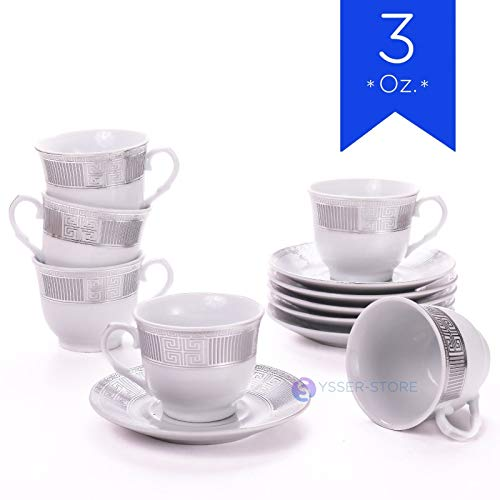 Tuweep Espresso Coffee Set 12 Pieces 6 Cup and Saucer in Gift Box by Tuweep