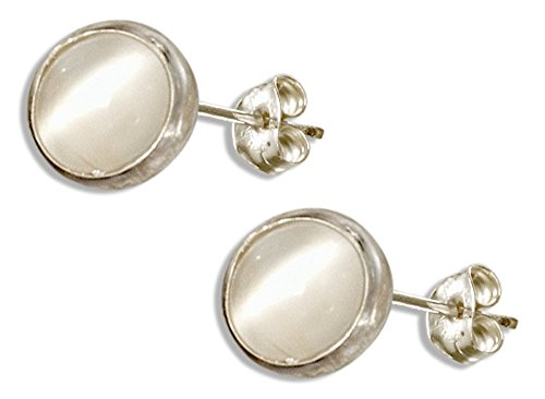 Sterling Silver 5mm Round Simulated Moonstone Post Earrings