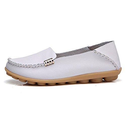 Bliëner Dames Casual Instappers Walking Flat Schoenen Comfort Zomer Pantoffels Wit