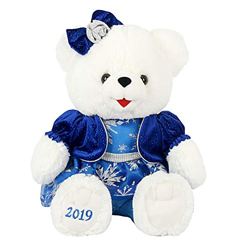 Dept18 Christmas 2019 Holiday Large Bear Stuffed Plush Animal Keepsake (Blue Snowflake White Girl)