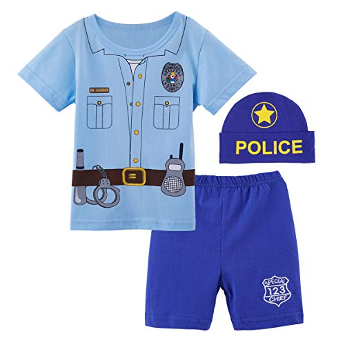 Mombebe Toddler Baby Boys' 3 Pieces Police Cop Short Clothing Sets with Hat (12-18 Months, -