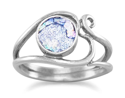 Ancient Roman Glass Oxidized Sterling Silver Ring, 7/16 inch wide Heart Design, Sizes 6-9
