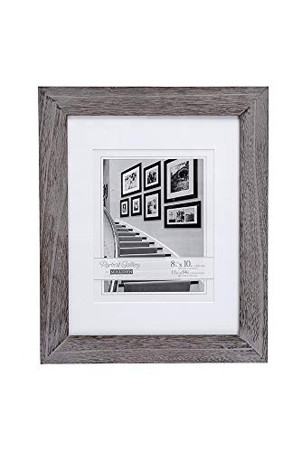 (Malden International Designs Manhattan Distressed Mat Picture Frame, 8x10/11x14, Gray)
