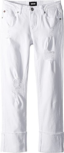 Hudson Kids Girl's Jessa Skinny Roll Cuff Crop In White (Big Kids) White 10