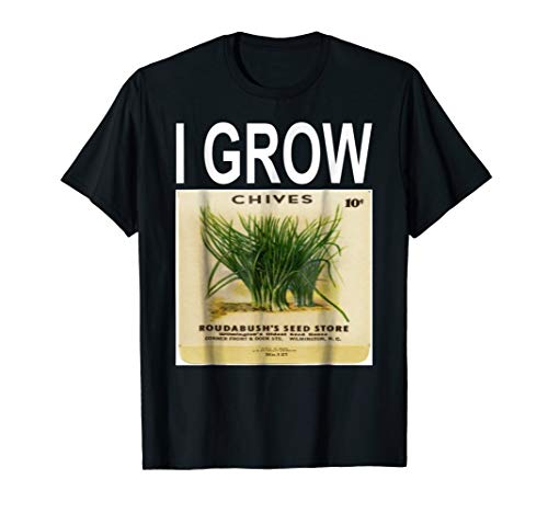 I Grow Chives Vintage Seed Packet Gardening T-Shirt ()
