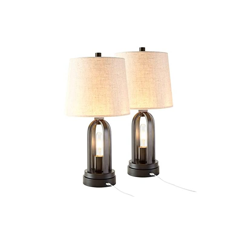 CO-Z Farmhouse Table Lamps Set of 2 with USB Port, Industrial Table Lamps with LED Edison Nightlight, Rustic Table Lamps…