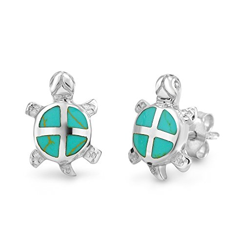 925 Sterling Silver Simulated Green Turquoise Sea Turtle Stud Earrings (Turtle Silver Sterling Earrings Turquoise)