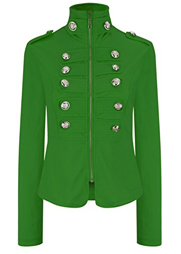 Double Breasted High Mock Neck Stand Collar Army Military Marching Band Drummer Uniform Jacket Coat Top Green 3XL