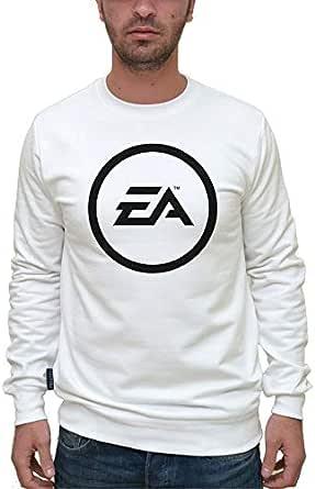 Printed White Cotton Round Neck Hoodie & Sweatshirt For Men