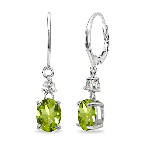 Sterling Silver Peridot & White Topaz 8x6mm Oval Dangle Leverback Earrings - Oval Peridot Polished Earrings