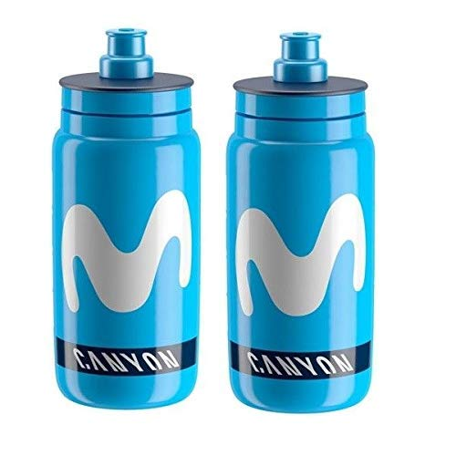 Elite Fly Team Movistar Canyon Endura Cycling Water Bottles - Blue, 550ml (2 Pack)