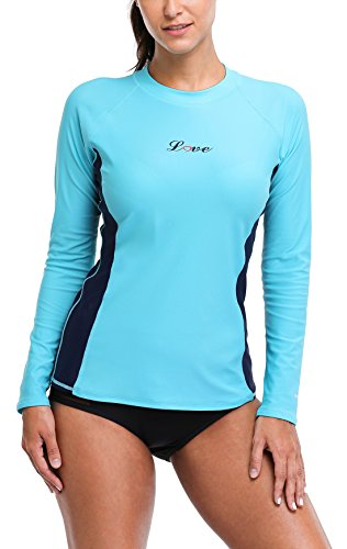 ALove Rash Guard Women Swim Shirt Long Sleeve Ladies Rashguard UPF 50 Swimsuit Large