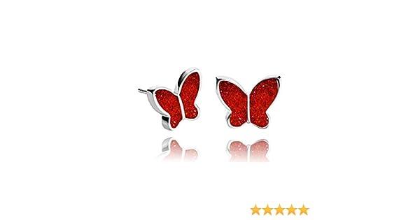 Pendientes de Perlas de Mariposas Brillantes color Rojo Joyas de Tono Plateado: Amazon.es: Handmade