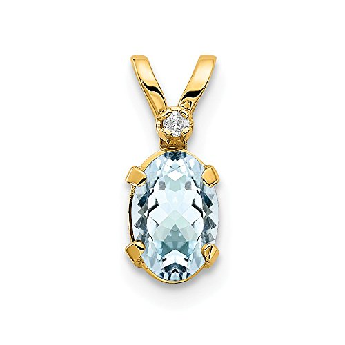 14k Yellow Gold Diamond Blue Aquamarine Birthstone Pendant Charm Necklace March Oval Fine Jewelry Gifts For Women For Her