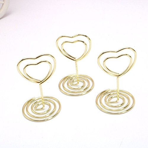 JANOU Mini Heart Shape Place Card Memo Holder Picture Stand Note Clip for Wedding Party Decoration Pack 10pcs (Gold) Gold Heart Place Card Holder