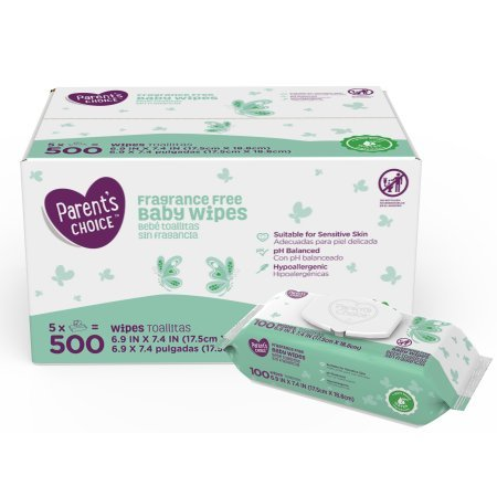 Amazon.com : Parents Choice Fragrance Free Baby Wipes, 500 Count (5 Packs of 100) (4 Case) : Baby
