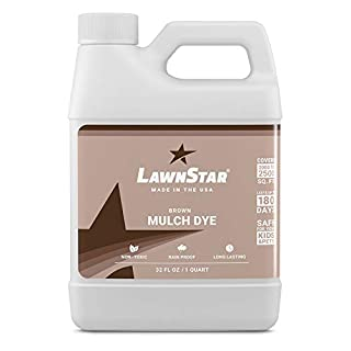 LawnStar Brown Mulch Paint, 32 fl. oz. - Makes Faded, Colorless Mulch Look New Again - Cost Effective, Eco-Friendly Dye Solution for Old Mulch (Covers 2,000-2,500 sq. ft.)