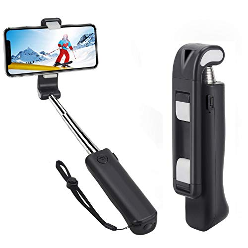 Selfie Stick,Jteman 5-in-1 Mini Bluetooth Selfie Stick Anti-Shake Hand Grip Cell Phone Holder Selfie Monopod Stick for iPhone Xs max/XR/X/8/7/6s,Samsung Galaxy S9/8/Note,and All Smartphone(Black)