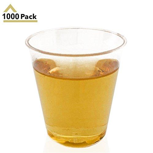 Stock Your Home Clear Plastic Shot Glasses 1.5 Oz - Disposable Shot Glasses, Wine Tasting Cups, Round Rim Small Plastic Tumblers, Whiskey Mini Shot Cups & Small Plastic Party Cups (Stock Glass)