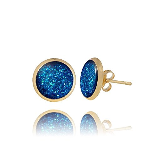 Royal Blue Glam Druzy Gold Tone Stud Earrings for Fashion Lover by Dragon Porter In a Gift Box
