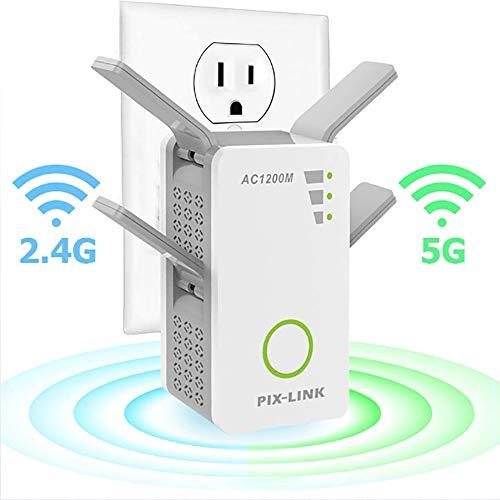 HUIJIN1 Extensor de Rango WiFi Repetidor inalámbrico 1200Mbps Wi-Fi Extender Amplificador de señal de Internet con 4...