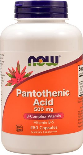 NOW Pantothenic Acid -- 500 mg - 250 Capsules - 3PC by NOW
