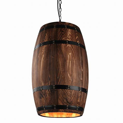 Newrays Antique Wood Wine Barrel Pendant Lamp Hanging Rustic Unique Kitchen Bar Ceiling Lamp Light Fixtures (L)