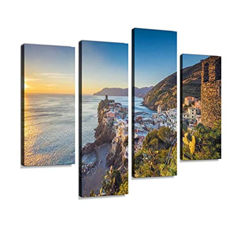 (Vernazza at Sunset, Cinque Terre National Park, Ligurian Riviera, Italy Canvas Wall Art Hanging Paintings Modern Artwork Abstract Picture Prints Home Decoration Gift Unique Designed Framed 4 Panel)