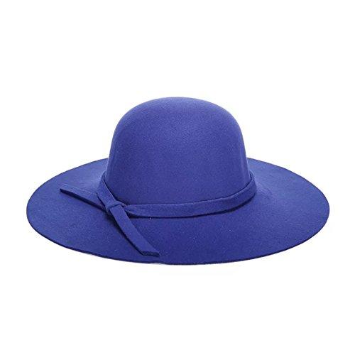 Dames De Mode Zerci Laine Large Mariage Chapeau À Bord Bleu Partie Chapeau Église Chapeau