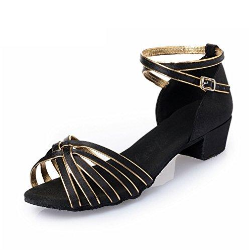 Chaussures MOU Sandales de Partie cheville Latine de BYLE Or en Noir Fond Chaussures de 36 Cuir Sangle Square Danse Modern'Jazz Danse Samba Chaussures Danse adultes Latine d'enfants de xYq7xCwtB